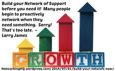 """Networkers! ~ Encore article (Yea!... Crowd noise): """"Build Your Network of Support Before You Need It"""" on my #Networking Blog (designed not to sell, but to teach!). Something new about networking is posted every 4th day! More than 520 FREE Articles! Tell your friends by clicking """"SHARE."""" ~ https://NetworkingHQ.wordpress.com/2014/07/01/build-your-network-now  Two other Networking HotSpots:   http://www.TenCommitmentsofNetworking.com https://www.Facebook.com/NetworkingHeadquarters"""
