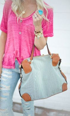 #Fashion  Summer Style : Blue & white striped medium satchel bag with top handles, and a removable should...