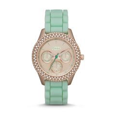 best fashion acessories Top 10 Watches for Women in Fossil 2014 Spring Collection Stella Multifunction Silicone Watch - Mint