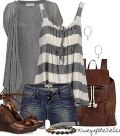 not too sure about the tie on top but I love the cut and flare of this shirt.  and the gray and white stripes too!