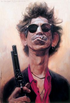 Keith Richards by 'Pure Genius' Sebastian Kruger Keith Richards, Ronnie Wood, Funny Caricatures, Celebrity Caricatures, Artist Life, Artist Art, Sebastian Kruger, Los Rolling Stones, Charlie Watts