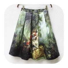 """New French Painting A-line Skirt M New French painting print flared A-line skirt. Size M Measured flat: 27-31"""" Length: 24"""" banded waist w/elastic back, e posed back zipper. Polyester, smooth feel. Machine wash. Skirts A-Line or Full"""