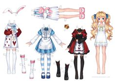 Manga paper doll girl. I like the Alice in Wonderland style costumes. On deviantART