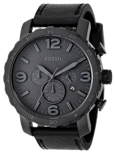 Watches: Fossil Men's Nate Stainless Steel Chronograph Watch with Black Leather Band Fossil Watches For Men, Men's Watches, Luxury Watches, Cool Watches, Fashion Watches, Male Watches, Analog Watches, Ladies Watches, Watches Online
