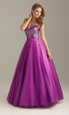 2014 Night Moves 6498 Purple Sequins Ball Gowns $153