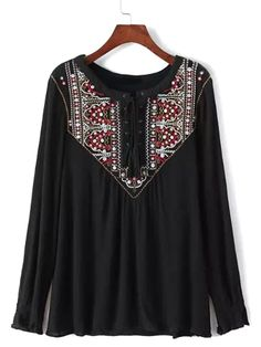 . . $24.29 Black Embroidery Pattern Lace Up Front Long Sleeve Blouse | Choies . .