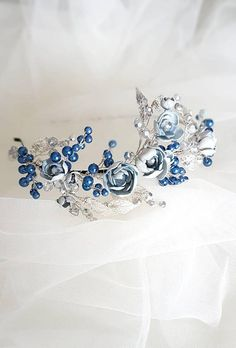 Silver Tiara with blue Flowers and Pearls, Silver Crown, Silver Wedding Tiara, Silver Bridal Tiara, Pearl Tiara