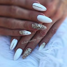 Trendy Gel Manicure Black And Gold White Nails Red Nails, White Nails, White Nail Art, Black Nails, Cute Acrylic Nails, Acrylic Nails For Summer Classy, Chrome Nails, Nagel Gel, Powder Nails