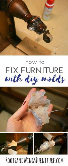 How to fix furniture with DIY molds. Tutorial by Jenni of Roots and Wings Furniture.