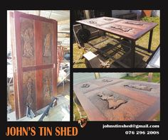 Old timber door conversion to table Tin Shed, Timber Door, How To Remove Rust, Custom Woodworking, Benches, Restoration, Tables, Doors, Home