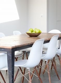 contemporary dining chairs versus weathered table