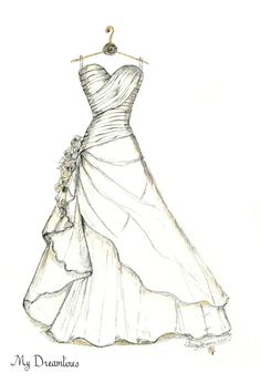 Wonderful Pics Bridal Shower Gift, Wedding Dress Sketch, bride gift from maid of honor, bride g. Ideas when getting special wedding gifts for newlyweds, specific gifts that can be saved for years may be Wedding Dress Sketches, Dress Design Sketches, Fashion Design Drawings, Fashion Sketches, Drawing Fashion, Bride Gifts From Maid Of Honour, Bridal Shower Gifts For Bride, Gift Wedding, Trendy Wedding
