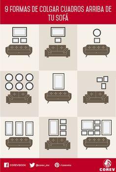 9 Increíbles maneras de colgar cuadros en la pared detrás de tu sofá. Ahora ya… …