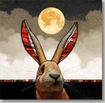 painting. rabbit and moon. by Craig Kosak - Warpaint Show (sold)