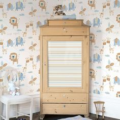 If you want a more neutral palette this is a lovely animal design for the little ones. From Just 4 Kids Collection by Galerie - G56022R #galerie #homedecor #kids #wallpaper #wallcovering #interior