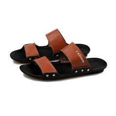 2015 New Summer Men Big Size Beach Shoes Leisure Sandals Leather Slippers bea9edeec37