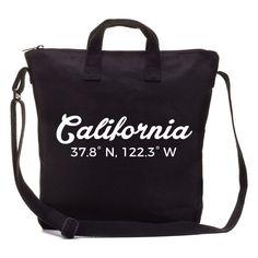 Simple DIY California City Coordinates Made with DIY Black Canvas Mamoo Tote and Cricut Explorer.