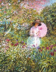 The Pink Parasol painting image | The Pink Parasol, Oil by Frederick Carl Frieseke (1874-1939, United ...