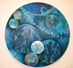 Nicky Forman NZ Artist. Flourish - After Botticelli. Oil on Board 350mm diameter