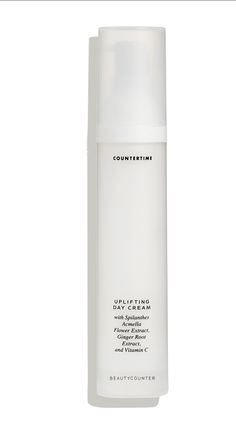 Countertime Uplifting Day Cream promotes firmer-looking skin, reduces redness, and boosts skin's defenses against environmental stress. Spilanthes Acmella Flower Extract reduces the appearance of fine lines and wrinkles, Ginger Root Extract combats redness and irritation, and Vitamin C brightens the skin for a firmer look.