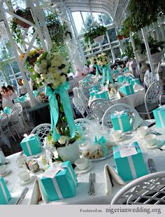 Nigerian wedding tiffany blue reception theme 1