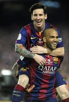 Messi and Alves celebrate   Copa del Rey Final, 30 May 2015: Athletic Bilboa 1 - FC Barcelona 3 http://www.urfifa.com/
