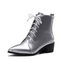 VogueZone009 Women's Mid Top Lace Up Kitten Heels Pointed Closed Toe Boots >>> Click image to review more details.