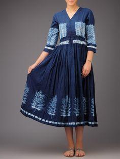 Buy Indigo White Leaf Shibori Dyed Cotton Angrakha Kurta Online at Jaypore.com