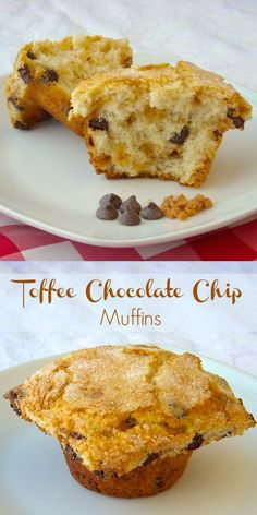 Toffee Chocolate Chip Muffins - everyone loves a great chocolate chip muffin but this recipes ups the ante on flavour with the addition of toffee chips to the muffin batter.