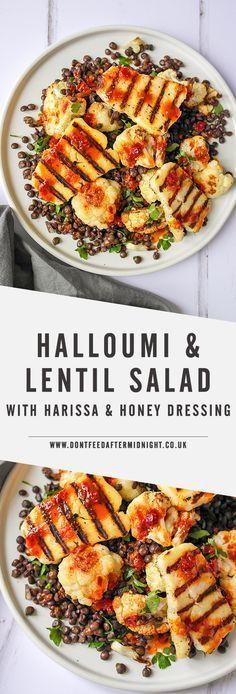 Halloumi & lentil salad with harissa & honey dressing