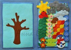 Build a seasonal tree - Развивающие игрушки Diy Quiet Books, Baby Quiet Book, Felt Quiet Books, Quiet Book Templates, Quiet Book Patterns, Silent Book, Sensory Book, Book Quilt, Busy Book