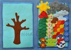 Build a seasonal tree - Развивающие игрушки Diy Quiet Books, Baby Quiet Book, Felt Quiet Books, Quiet Book Templates, Quiet Book Patterns, Toddler Activities, Activities For Kids, Crafts For Kids, Indoor Activities
