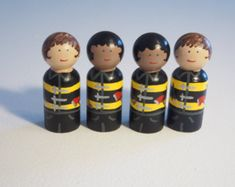 CUSTOM Firemen Peg Dolls