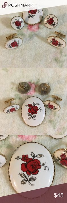 """Vintage Roses Set This is a very unique set of ceramic with red roses painted on set in gold. Includes brooch which is a 1.5"""" x 2"""" oval, 1 pair of screw back earrings and 1 set of cuff links. Great condition. Vintage Jewelry"""