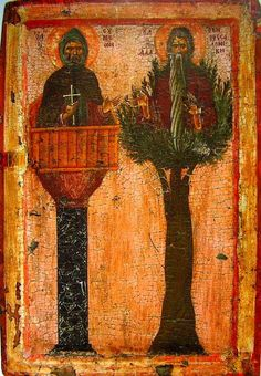 century Greek icon from the Vatopedi Monastery on Mt. Athos, David of Thessaloniki in his tree at right and Simeon Stylites on the left Orthodox Catholic, Catholic Art, Byzantine Icons, Byzantine Art, Avatar Tree, Greek Icons, Christian Artwork, Russian Icons, Religious Paintings