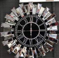 Real Mirror clockSılver Large Wall clockModern home | Etsy Large Rustic Wall Clock, Wall Clock Wooden, Retro Alarm Clock, Home Clock, White Clocks, Modern Clock, Silver Color, Villa, Butt Workout