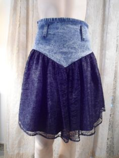 Size 7 Womens Upcycled Blue Jean Denim Skirt Black Lace Lined Disco Hippie Boho Southwest Style Clothes High Waist Large wide thick belt by LandofBridget