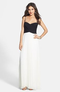 Laundry by Shelli Segal Two-Tone Cross Bodice Chiffon Gown | Nordstrom. With a beaded belt- PERFECT