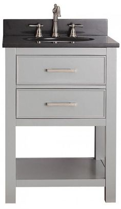 "Two of these in gray. Just vanities. Countertop all the way across and open underneath in middle or storage. Can do the one sink or two  Lakeport 25""W Bath Vanity - HomeDecorators.com"