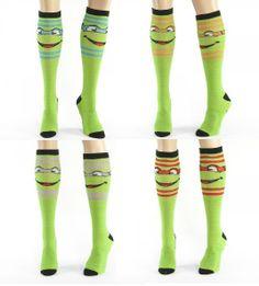 Orange and Red Teenage Mutant Ninja Turtles Striped Green Knee High Socks  $10.95