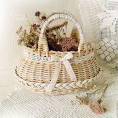 """Купить """"Весна"""" Корзинка-сумочка плетеная - сумочка, корзинка, для цветов, плетеная, бежевая, шебби-шик"""