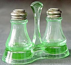 Vintage Green Glass Salt and Pepper Shakers