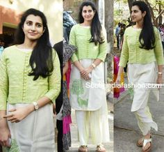 Brahmani in a Palazzo Suit – Nara Brahmani stepped out to cast her vote for GHMC elections wearing an off white kurta and palazzo pants paired with a light green jacket. She looked Dress Neck Designs, Kurti Neck Designs, Kurta Designs Women, Kurti Designs Party Wear, Saree Blouse Designs, Salwar Designs, Blouse Patterns, Simple Kurta Designs, Indian Designer Suits