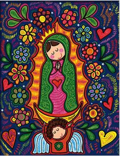 """Képtalálat a következőre: """"Carmen More"""" Mexican Pattern, Blessed Virgin Mary, Mexican Folk Art, Blessed Mother, Cute Images, Religious Art, Religious Images, Rock Art, Framed Art"""