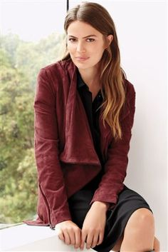 Buy Berry Suede Waterfall Jacket online today at Next: Israel