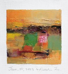 Jan. 10, 2013 - Original Abstract Oil Painting - 9x9 painting (9 x 9 cm - app. 4 x 4 inch) with 8 x 10 inch mat. $60.00, via Etsy.