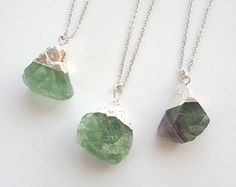 Fluorite Necklace Green Stone Necklace Rough Raw Crystal Pendant Fluorite Rough Big Green Stone Green Necklace Pendant Boho Fluorite Jewelry...