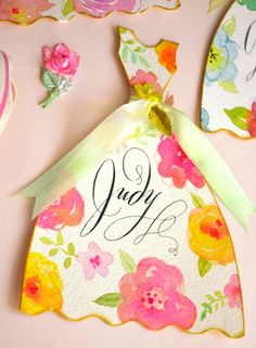 These hand painted cards are just the thing to send to a dear friend to make her feel special. Personalized with calligraphed names, they are adorable greeting cards or fold over place cards for a...