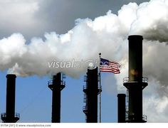 smokestacks chimney | Factory chimney stacks with steam and smoke pouring out with American ...