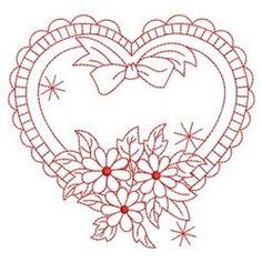Redwork Floral Heart embroidery design